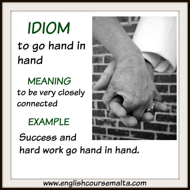 idiom hand in hand, to be part and parcel, meaning two things go together