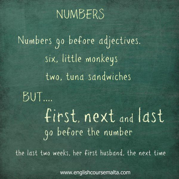 next first and last before numbers in adjective usage