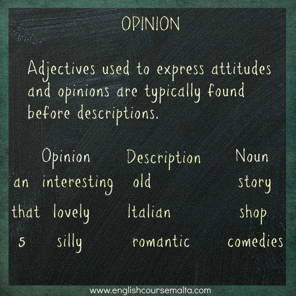 opinion comes first in adjective word order in english