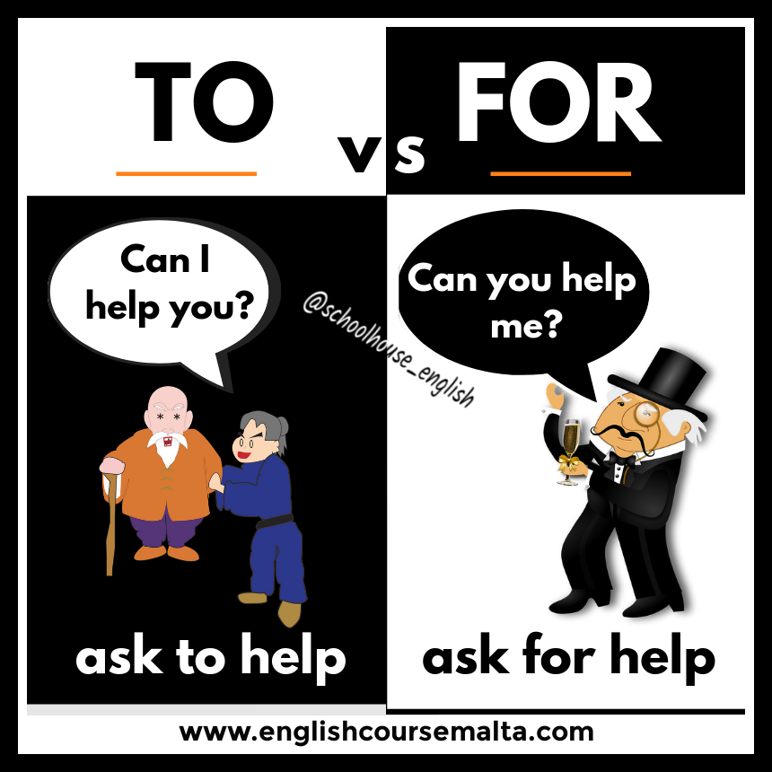 difference between for and to, ask for help, ask to help