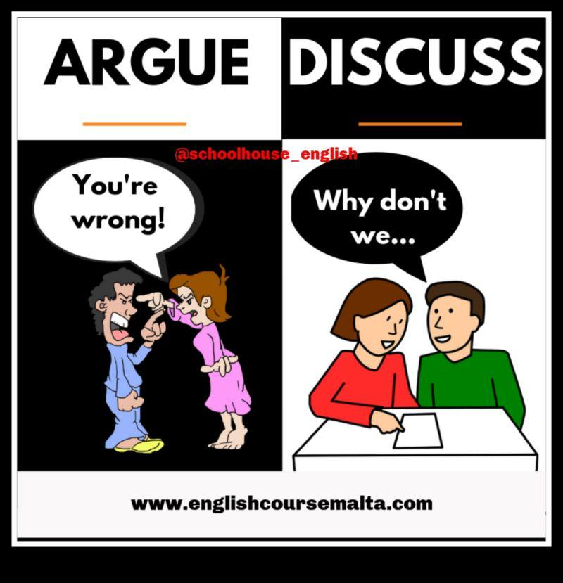 argue, discuss, false friends
