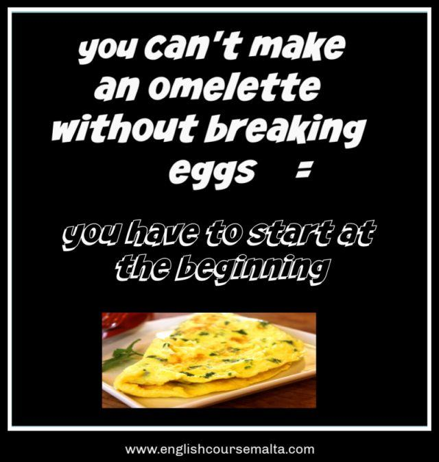 Picture infographic with words you can't make an omelette without breaking eggs. This idiom means that you need to start at the beginning.